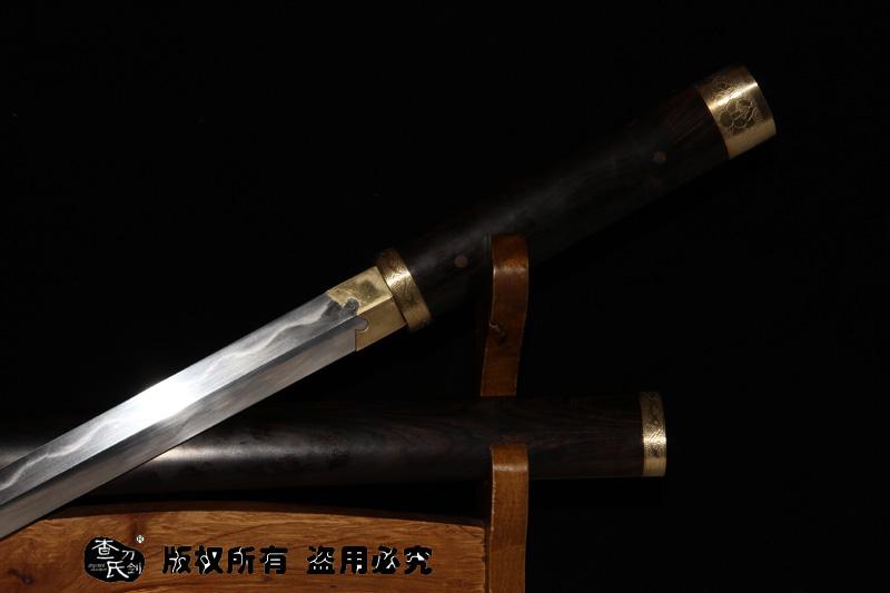 羽毛钢烧刃龙泉剑-素装