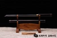 开槽檀木包铜唐刀(花纹钢烧刃)