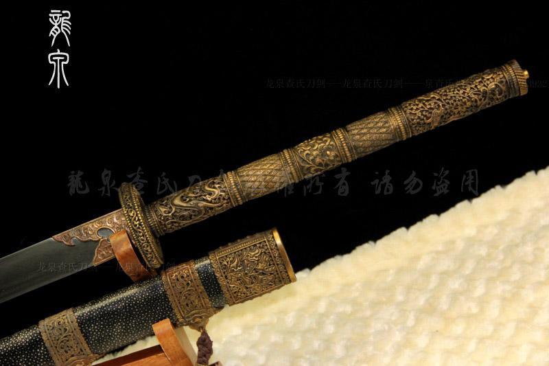 康熙战刀-龙泉镂空铜装 珍珠鱼皮-精品版