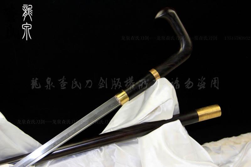 檀木高端手杖剑-拐杖剑-花纹钢唐刀形
