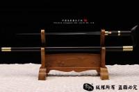 高档实用三刃花纹钢手杖剑 檀木手杖剑