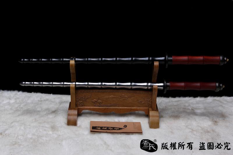 手工竹节鞭(锏)-红木柄