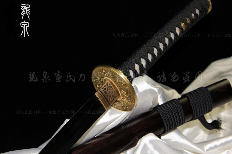 玉钢本三枚精品打刀-配手工雕刻刀镡
