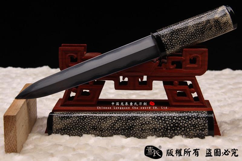 珍珠鱼皮精品短剑-百炼钢研磨-镶嵌牛角