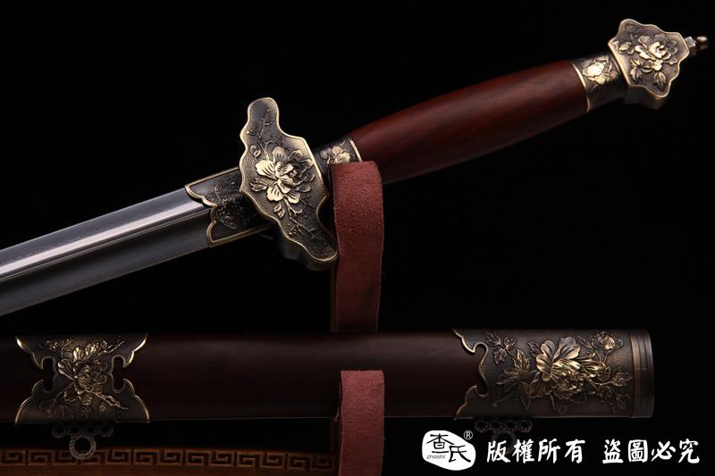 精品铜装百炼钢太极剑-牡丹图