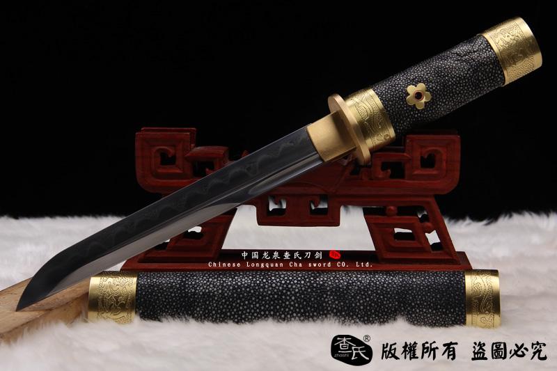 鱼皮短刀-(小乌丸短唐刀)花纹钢烧刃