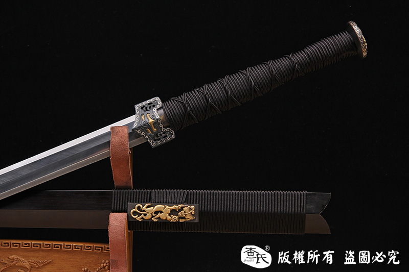 铁装手雕刻汉剑-错银错铜工艺-孤品,大师作品